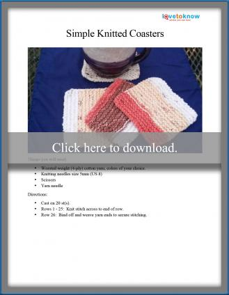 Simple knitted coasters pattern