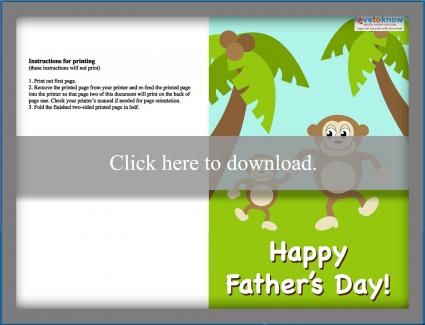 Monkey Father's Day Card Printable