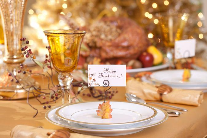 Thanksgiving place card on plate