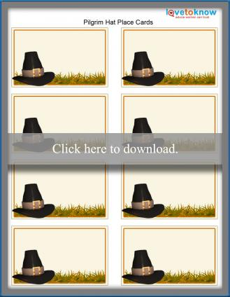 Thanksgiving pilgrim hat place cards template