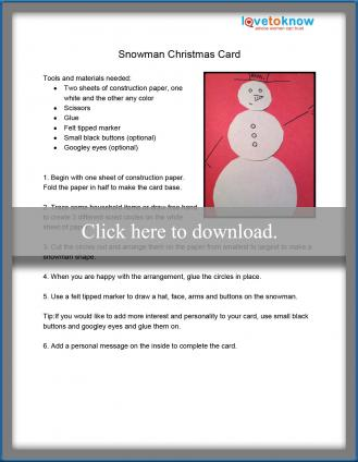 Snowman Christmas card printable pdf