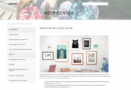 Screenshot of Society6 website