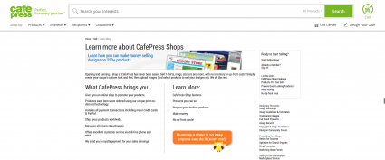 Screenshot of Cafe Press website