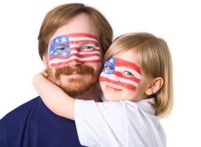 father and daughter with face painting