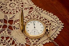 clock on doily