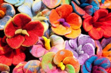 wool felt flowers