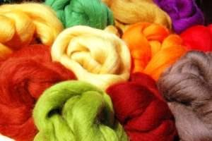 Carded and dyed wool ready for felting