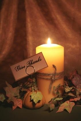 thanksgiving place card, candle