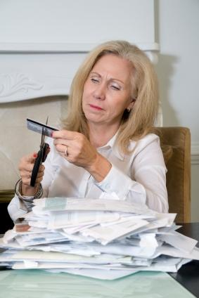 Woman with credit card bills