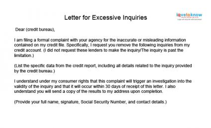 Credit repair sample letters letter for excessive inquries spiritdancerdesigns