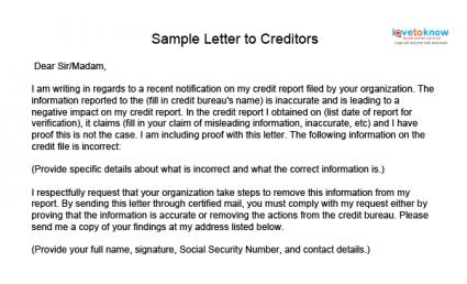 Credit Repair Sample Letters Lovetoknow