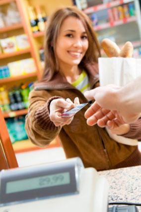 woman purchasing items with credit card