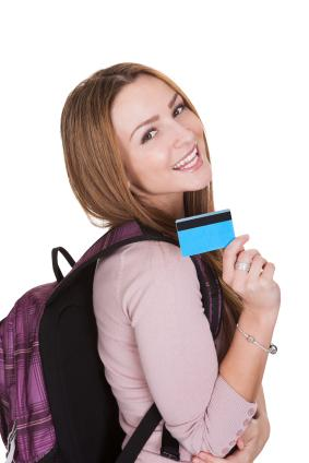 Student with credit card