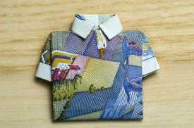 origami shirt gift card holder
