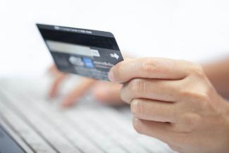 Using a credit card to make an online purchase
