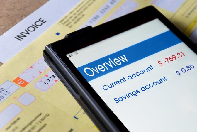 Mobile banking app closeup