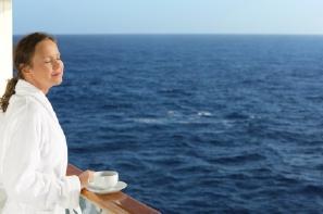 relaxing woman on ship