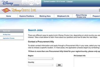 Screenshot of Disney CRuise Lines Careers Website