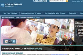 Screenshot of Norwegian Cruise Line Careers Website