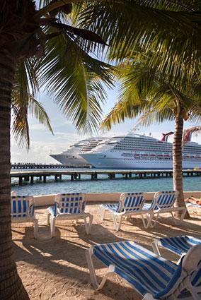 Carnival Conquest and Triumph cruise ships docked in Cozumel, Mexico.