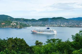 Zihuatanejo Bay with Cruise Ship