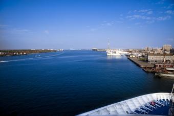 Galveston harbor view from cruise ship