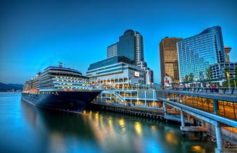 Luxury cruise ship in waterfront