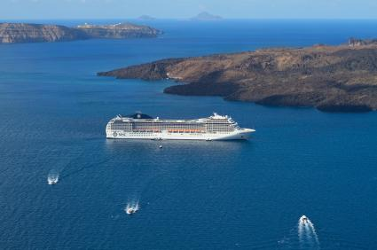 Cruise ship anchored at the island of Santorini