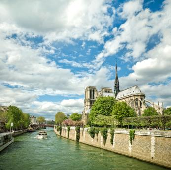 Cruising the Seine Past Notre Dame Cathedral