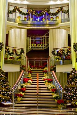 Cruise ship lobby decorated for Christmas