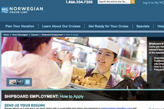 Screenshot of Norwegian Cruise Line Careers Website
