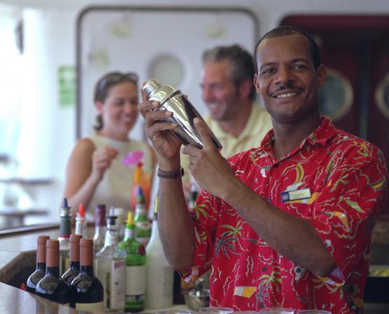 Cruise bartender preparing a cocktail