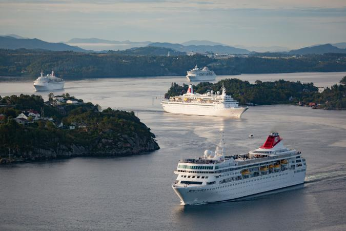 Olsen Cruise Lines four ships – Balmoral, Braemar, Boudicca and Black Watch – in Bergen, Norway on 28th July 2015.