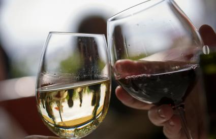 Two wine glasses toasting