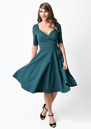 Collectif 1950s Style Teal Trixie Doll Stretch Swing Dress