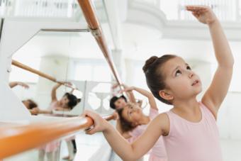 Children practicing ballet poses