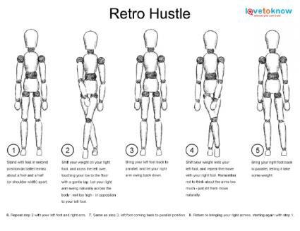 X Retro Hustle on Printable Dance Steps Diagrams