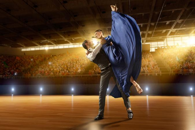 Couple performing latin american dance