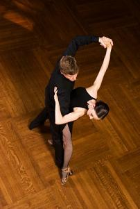 Top view of ballroom dance couple