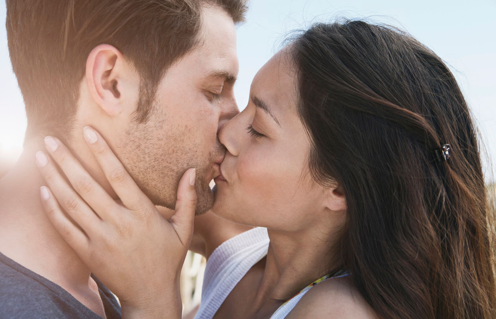 The technique of a proper kiss. Kiss with tongue