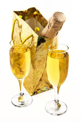 Champagne in a gift bag