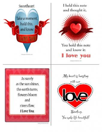 4 Free Printable Love Notes