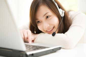 Girl with headphones chatting