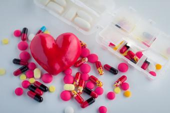 Heart with pills