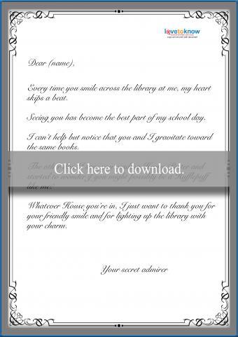Sample Secret Admirer Note