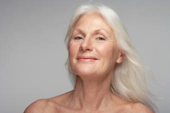 Beautiful senior woman with long blond hair