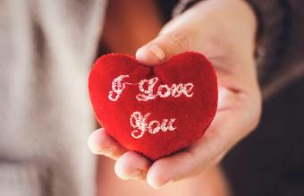 I love you text on red heart
