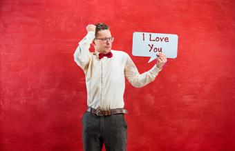 Man with I Love You sign