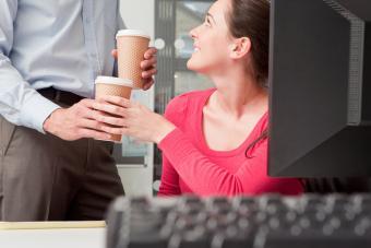 Colleague bringing coffee