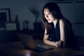 woman chatting on her computer